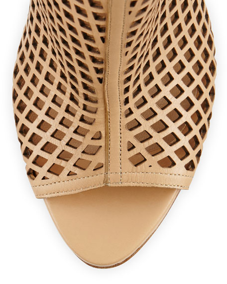 Laser-Cut Leather Bootie, Camel