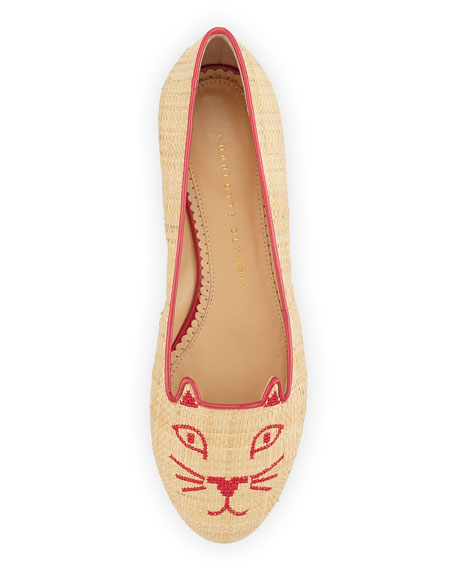 Kitty Raffia & Patent Leather Slipper, Natural/Fiesta