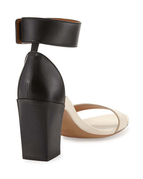 Chloe Two-Tone Block-Heel Sandal, Black/White