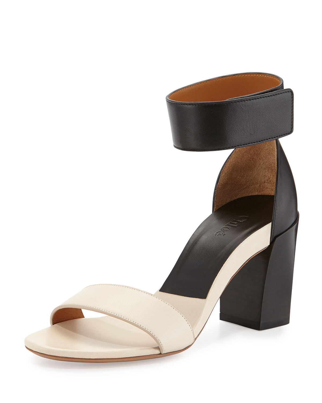 Chloe Two-Tone Block-Heel Sandal 80514571e3f
