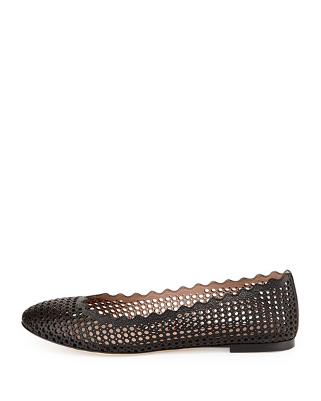 Perforated Leather Ballerina Flat, Black