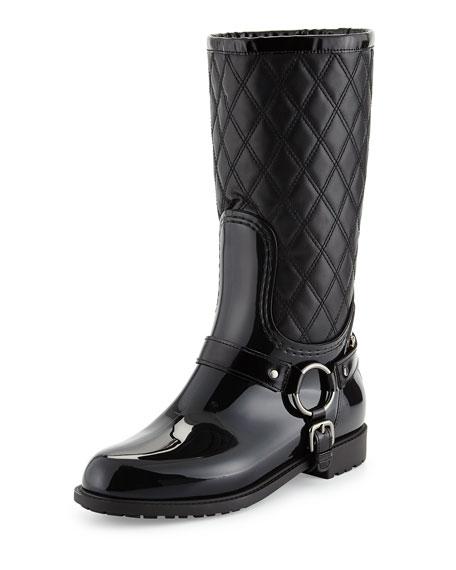 Stirrup Quilted Leather Rainboot, Nero