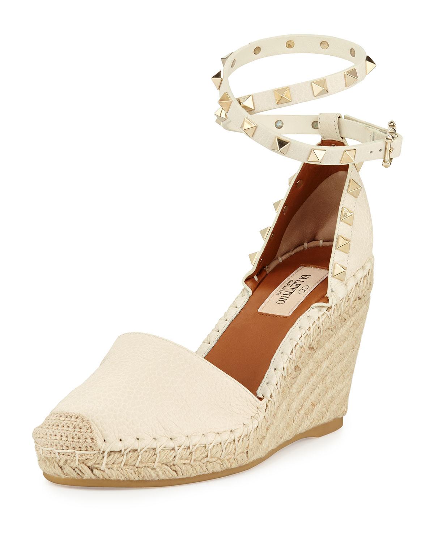 3d09c767d12 Valentino Rockstud Espadrille Wedge Sandal