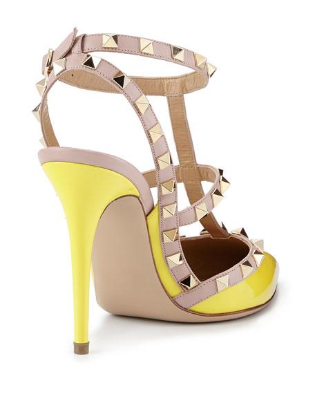 Rockstud Patent Sandal, Naples Yellow/Poudre