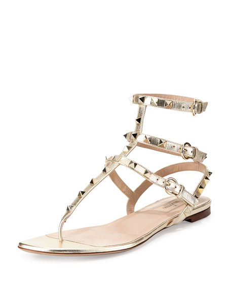 Valentino Rockstud Metallic Ankle-Wrap Thong Sandal, Platino
