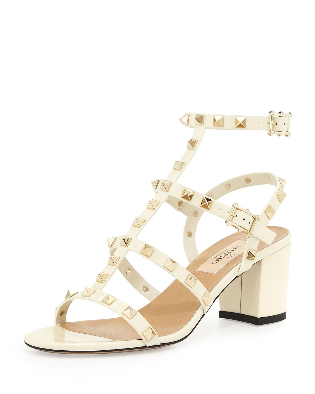 4bd3b6a0e96 Valentino Rockstud Chunky-Heel Sandal