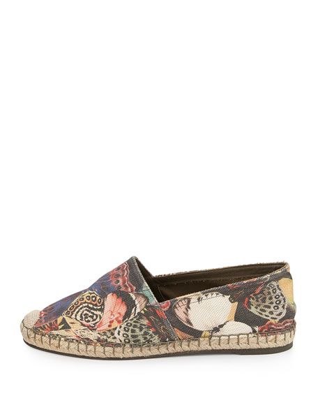 Butterfly Printed Canvas Espadrille, Multi Colors