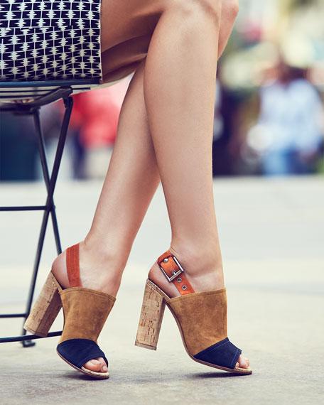 Gianvito Rossi Marcy Colorblock Slingback Sandal, Denim/Almond/Orange