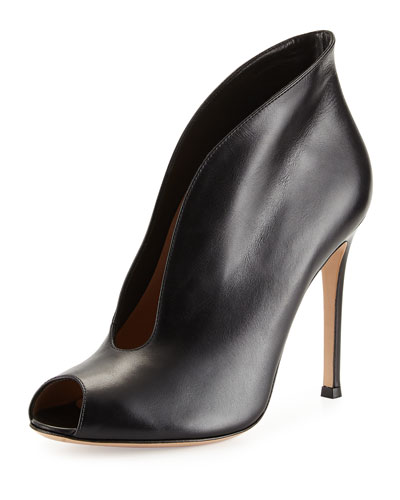 Leather V-Neck Peep-Toe Bootie, Black