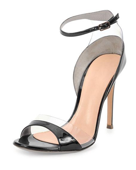 Leather/Vinyl Ankle-Wrap Sandal