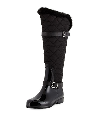 Fulton Quilted Rain Boot, Black