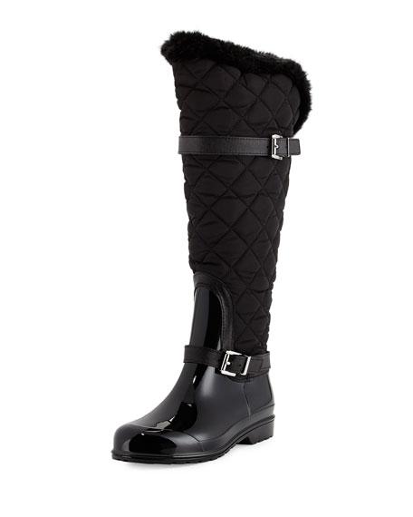 MICHAEL Michael Kors Fulton Quilted Rain Boot, Black