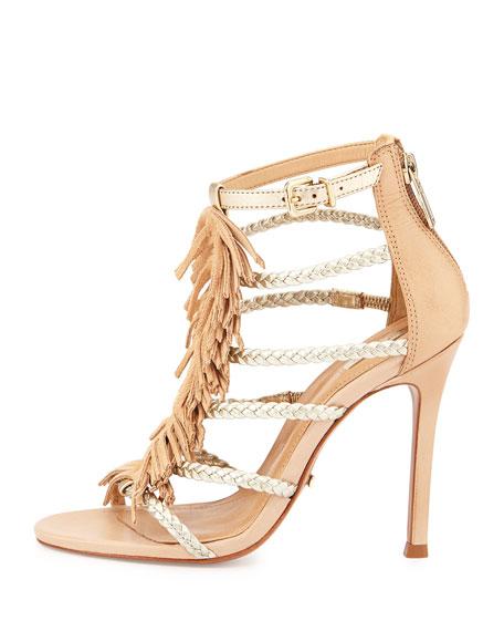Carmen Fringed Sandal, Gold