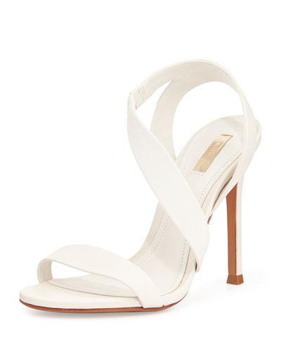 Tabacema Leather Stiletto Sandal, White