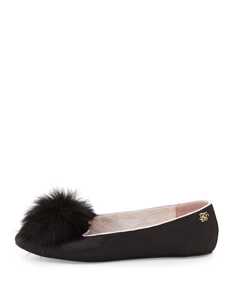 Iveye Satin Slipper with Faux-Fur Pom, Black