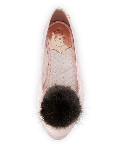 Iveye Satin Slipper with Faux-Fur Pom, Light Pink