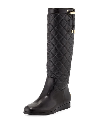 Lizzie Quilted Leather Knee Boot, Black