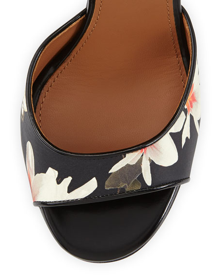 Floral-Print Leather Ankle-Wrap Sandal