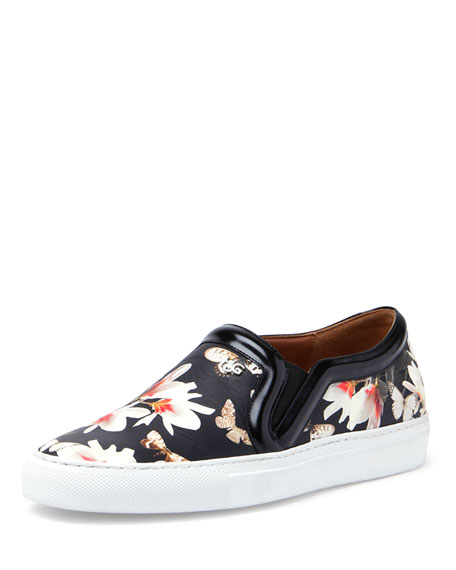 Floral-Print Slip-On Sneaker, Black