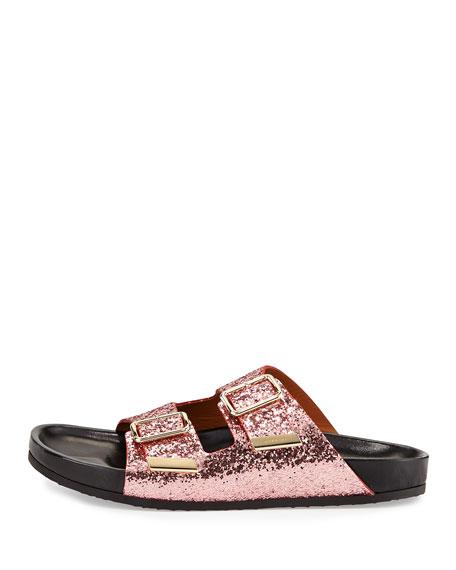 Glitter Double Swiss Buckle Pink Sandal gvYf76by