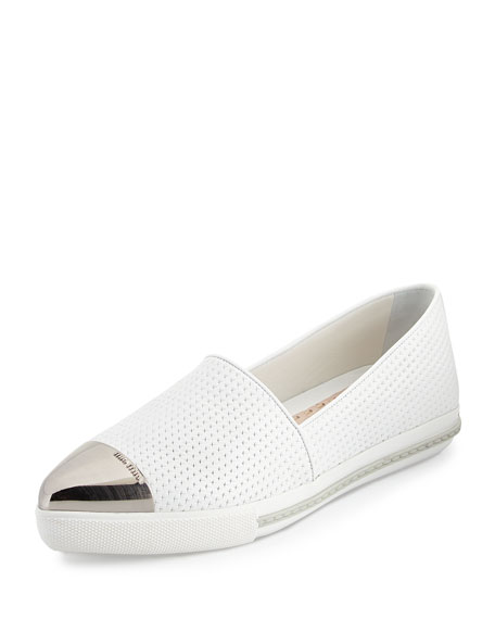 Miu Miu Embossed Leather Cap-Toe Loafer