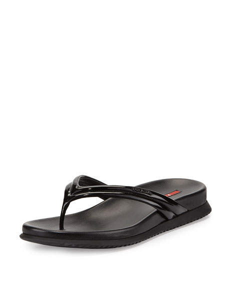 Prada Patent Leather Thong Sandal, Nero