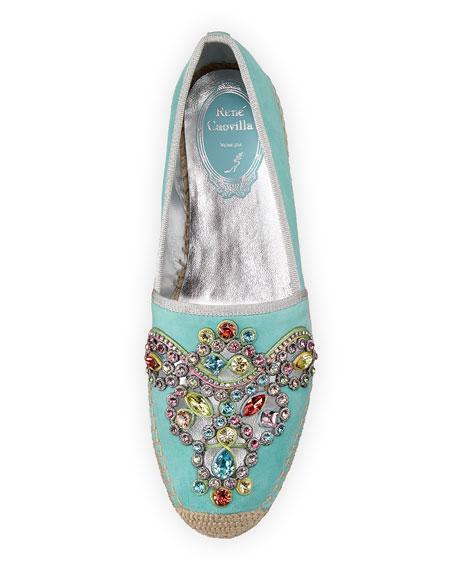 Crystal-Embellished Suede Espadrille, Aqua
