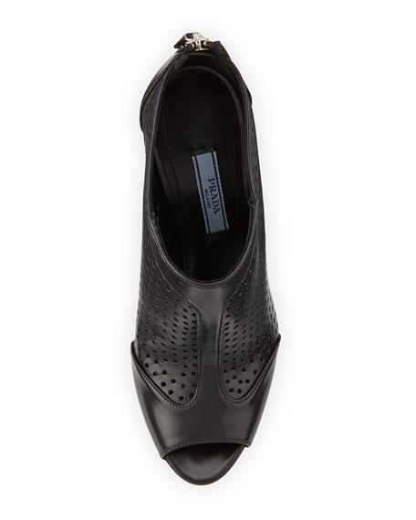 Leather Perforated Peep-Toe Bootie, Nero