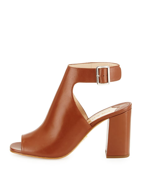 Prada Leather Ankle-Wrap Sandal, Brandy