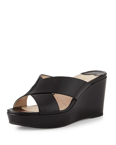 Patent Crisscross Wedge Slide, Nero