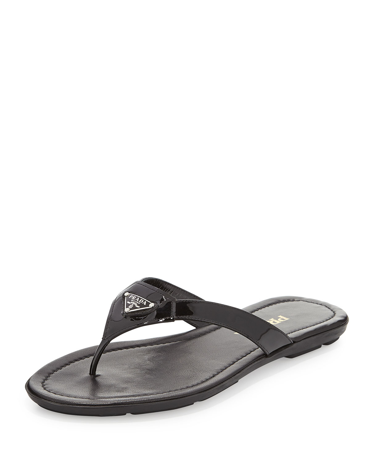 92c80d58dbc3 Prada Patent Leather Thong Sandal