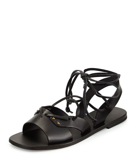 Leather Wide-Strap Gladiator Sandal, Black