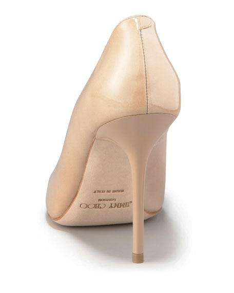 Abel Point-Toe Patent Pump, Nude