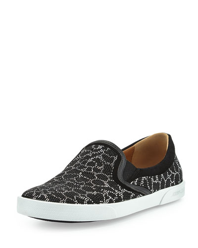 Demi Leopard Studded Skate Shoe, Black/Silver