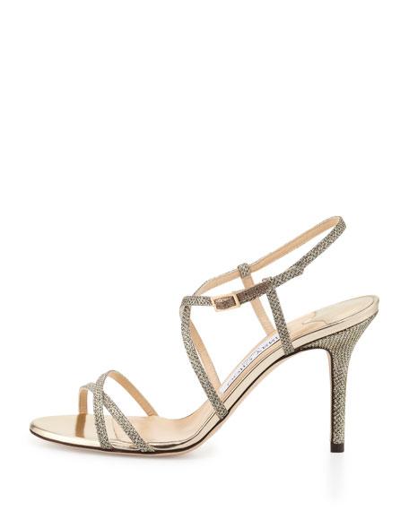Elaine Strappy Glitter Sandal, Light Bronze