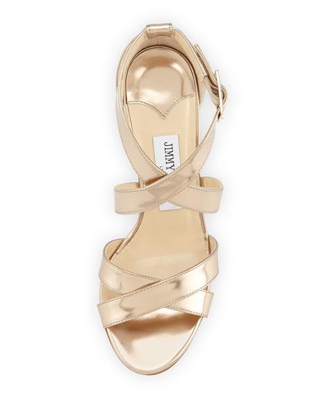 Louise Metallic Crisscross Sandal, Nude