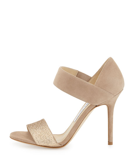 Tallow Glitter Suede Ankle-Wrap Sandal, Nude