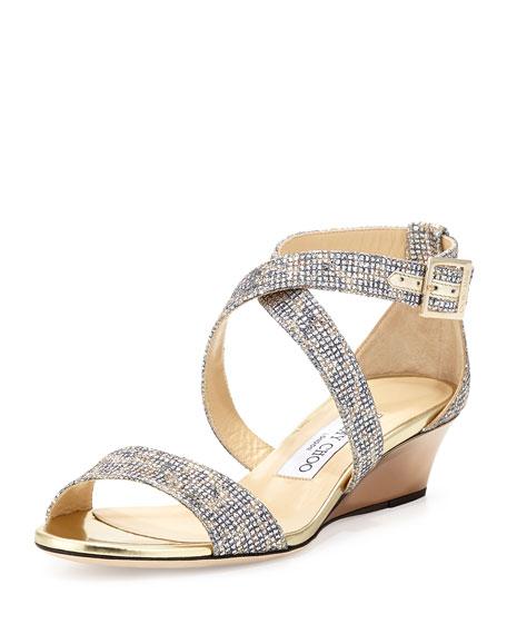 Jimmy Choo Chiara Glitter Demi Wedge Sandal Neiman Marcus