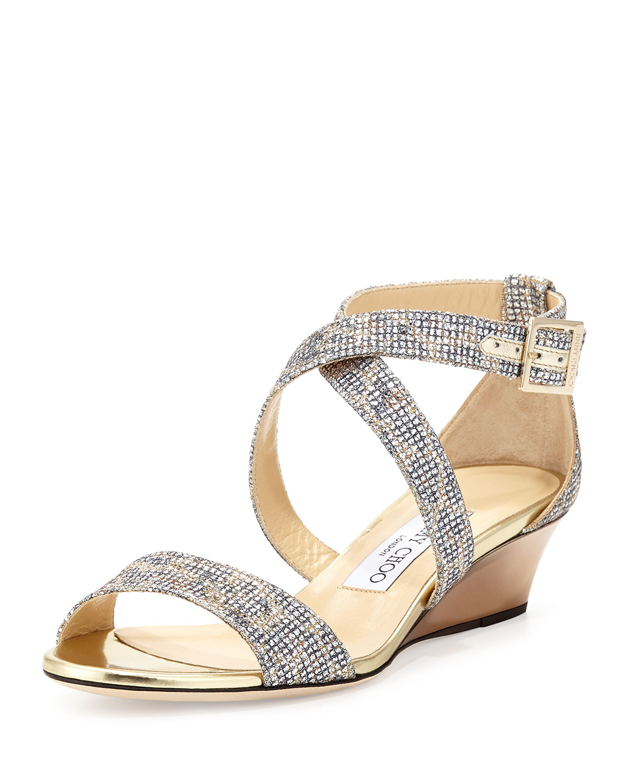 fb996cf4d5c Jimmy Choo Chiara Glitter Demi-Wedge Sandal