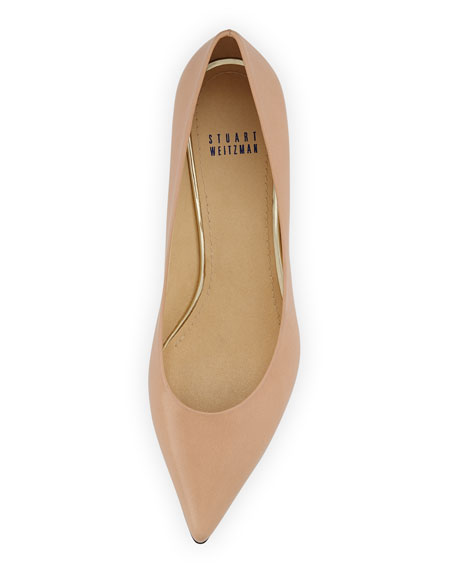 Poco Kitten-Heel Leather Pump, Nude