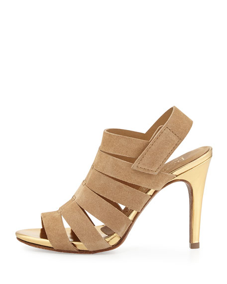 Suri Strappy Leather Sandal, Camel
