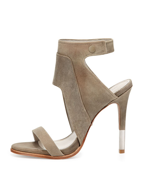 Venga Leather Ankle-Wrap Sandal, Gray