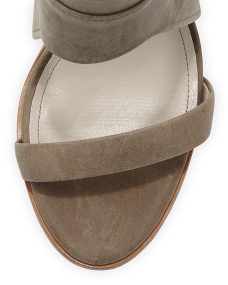 Venga Leather Ankle-Wrap Sandal, Gray