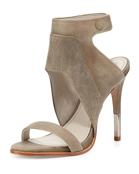 Pour la Victoire Venga Leather Ankle-Wrap Sandal, Gray