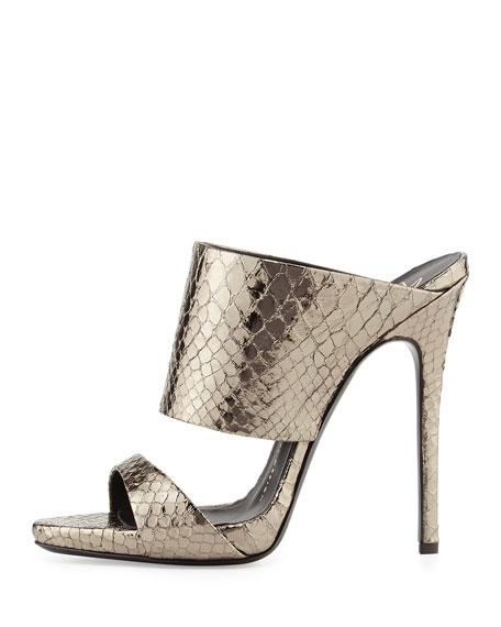 Metallic Python-Embossed Slide Sandal, Anthracite