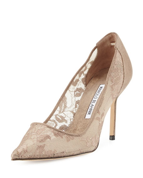 Manolo Blahnik Bb Lace 90mm Pump Gold Neiman Marcus