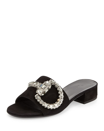 Maxime Jeweled-Bit Suede Slide, Nero