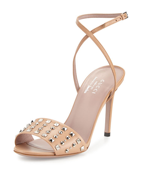 Gucci Coline Studded-Leather Ankle-Strap Sandal, Camilia