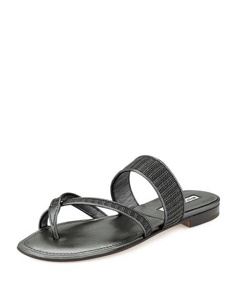 Manolo Blahnik Susametal Woven Thong Sandal, Iron Silver