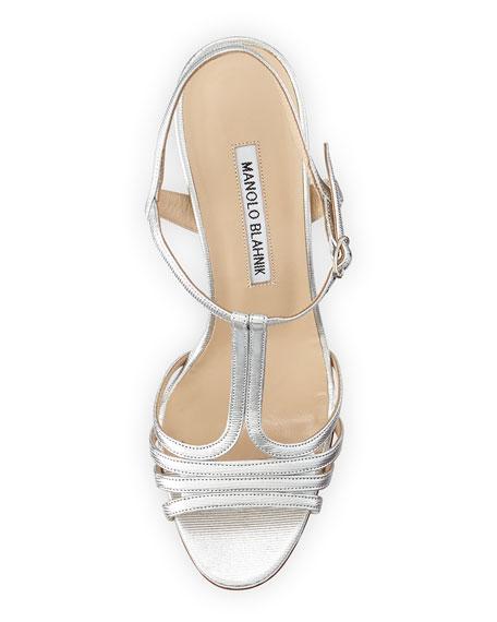 Rebuf Metallic T-Strap Sandal, Silver